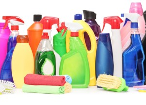 Studio shot of a cleaning supplies isolated on white background