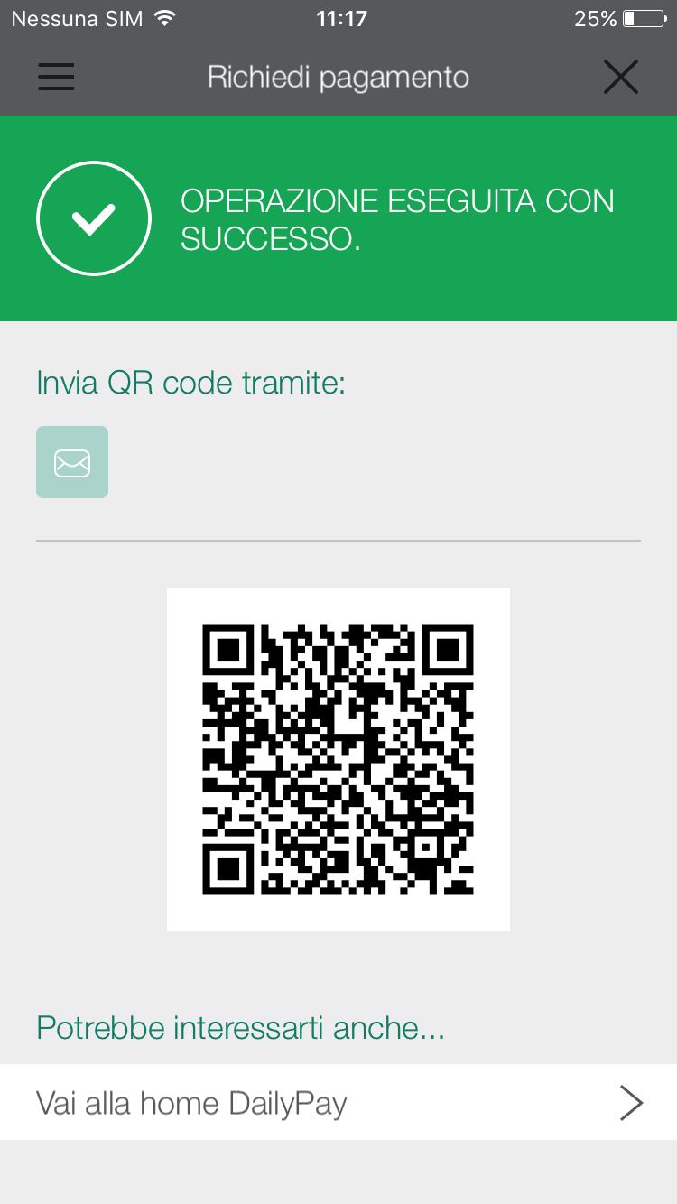 DailyPay_richiedi pagamento con QR Code