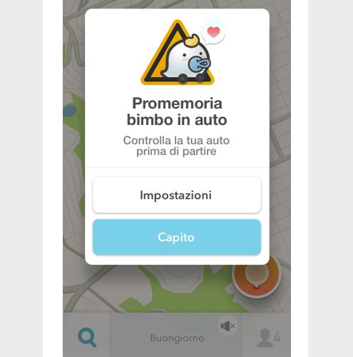Bimbo in auto: Waze aggiorna l'app per aiutare i genitori