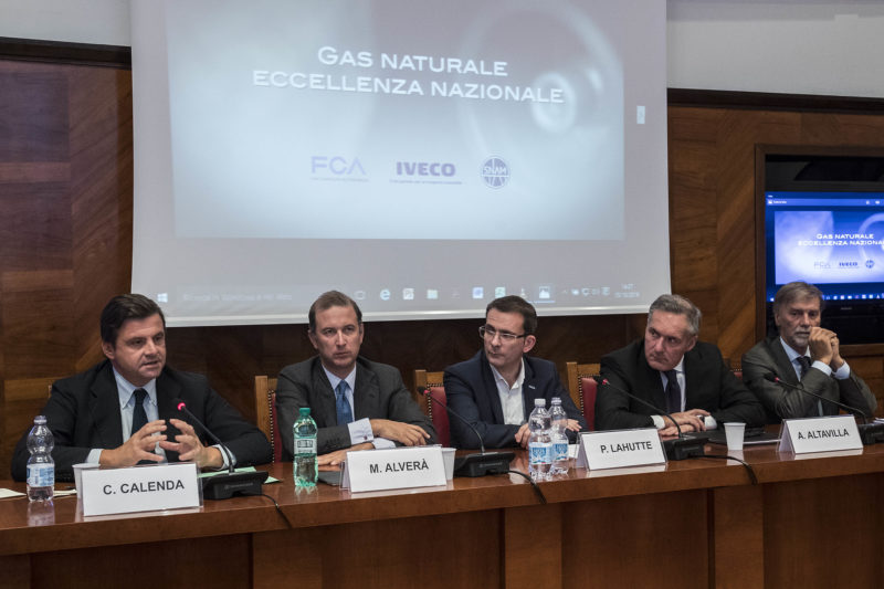 Foto Roberto Monaldo / LaPresse 05-10-2016 Roma Economia Accordo di cooperazione tra Snam, Fca e Iveco per lo sviluppo del gas naturale per autotrazione in Italia Nella foto Carlo Calenda, Marco Alverà (Snam), Pierre Lahutte (Iveco),  Alfredo Altavilla (Fca), Graziano Delrio   Photo Roberto Monaldo / LaPresse 05-10-2016 Rome (Italy) Agreement between Snam, Fca and Iveco for the development of natural gas for transport in Italy In the photo Carlo Calenda, Marco Alverà (Snam), Pierre Lahutte (Iveco),  Alfredo Altavilla (Fca), Graziano Delrio
