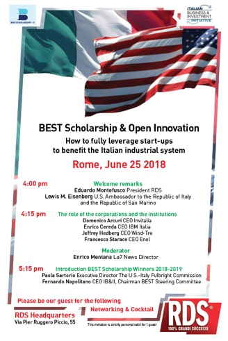 Best Scholarship e Open Innovation lunedì 25 a Roma
